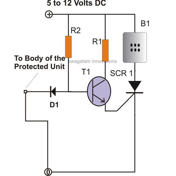 scr alarm circuit schematic diagram