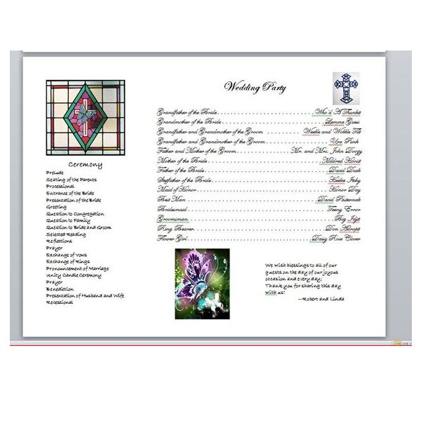 One Page Wedding Program Template Gallery - template design free