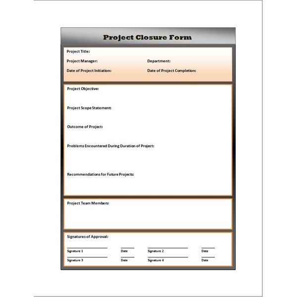Free Project Closure Report Form Download and Use for Your Own