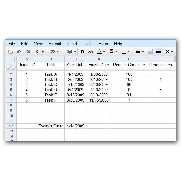 How to Create a Gantt Chart in a Google Docs Spreadsheet - ARCHIVED