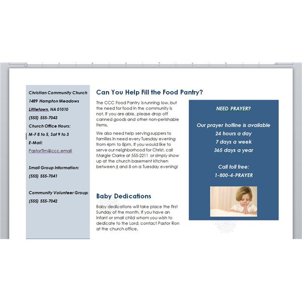How to Make a Church Newsletter Making Church Newsletters in Word