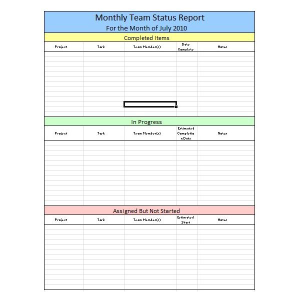 Sample Team Monthly Report Template in Excel Free Download  Tips - project status report excel