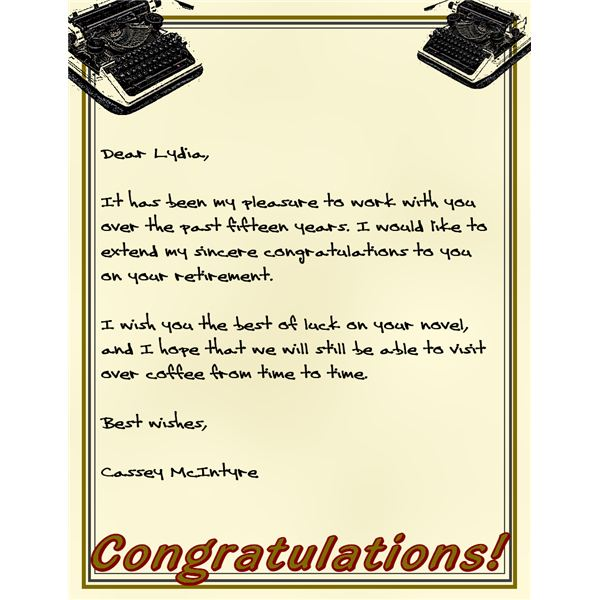 Sample Letters for Retirement Congratulations Donu0027t Be at a Loss - retirement letters
