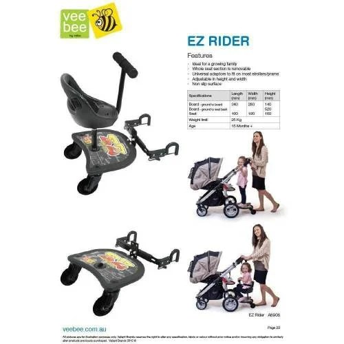 Pram Side Seat Attachment Ride On Vee Bee Ez Rider Stroller Ride On Board