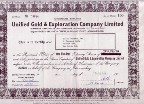 Documents - Share Certificate - Unified Gold  Exploration Company - Company Share Certificates