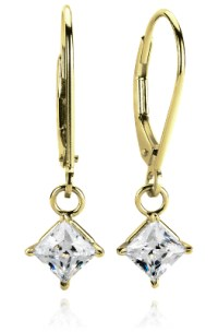 Four-Prong Leverback Dangle Earrings in 14k Yellow Gold ...