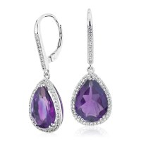 Amethyst Elegant Halo Drop Earrings in Sterling Silver