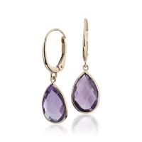Amethyst Pear Drop Earrings in 14k Yellow Gold (12x8mm ...