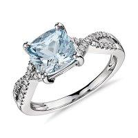 White gold diamond aquamarine ring | Cool costume jewelry ...
