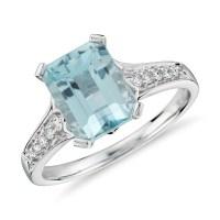 Aquamarine and Diamond Ring in 14k White Gold (9x7mm ...