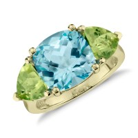 Blue Topaz and Peridot Ring in 14k Yellow Gold   Blue Nile