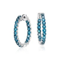 London Blue Topaz Hoop Earrings in Sterling Silver (2.5mm ...