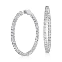 Diamond Hoop Earrings in 18k White Gold - F / VS2 (4 ct ...