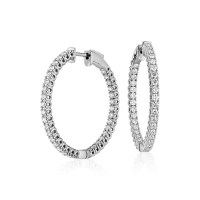 Diamond Hoop Earrings in 18k White Gold - F / VS (2 ct. tw ...
