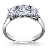 Three Stone Pav Diamond Engagement Ring in Platinum ...