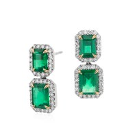 Emerald-Cut Emerald Diamond Pav Drop Earrings in 18k ...