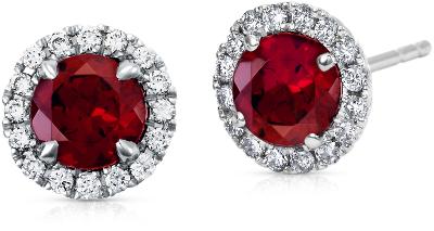 Garnet and Micropav Diamond Earrings in 18k White Gold