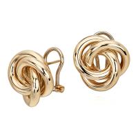 Oversized Love Knot Stud Earring in 14k Yellow Gold | Blue ...