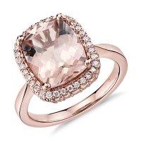 Robert Leser Morganite and Diamond Ring in 14k Rose Gold ...