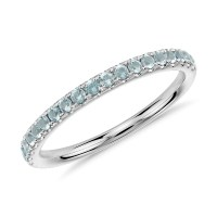 Riviera Pav Aquamarine Ring in 14k White Gold (1.5mm ...