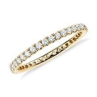 Riviera Pav Diamond Eternity Ring in 18k Yellow Gold (1/2 ...