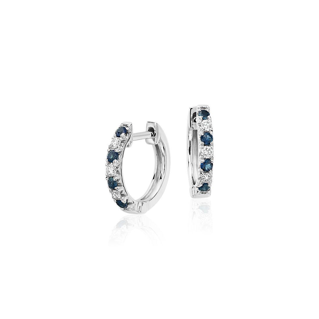 Petite Sapphire and Diamond Pav Huggie Hoop Earring in