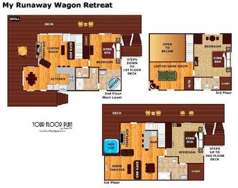 floor plan at My Runaway Wagon Retreat in Shagbark TN