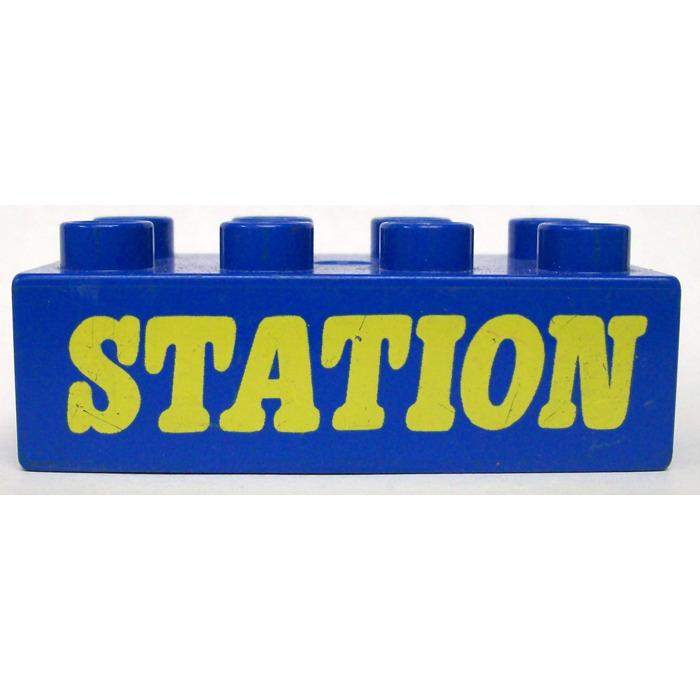 LEGO Blue Duplo Brick 2 x 4 with the word station Brick Owl - LEGO