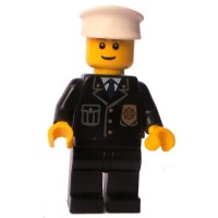 LEGO Police Officer, badge blue tie white hat Town ...