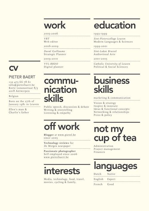 Pin by Zuzanna Cichowska on Useful Pinterest Career, Resume - graphic design resume ideas
