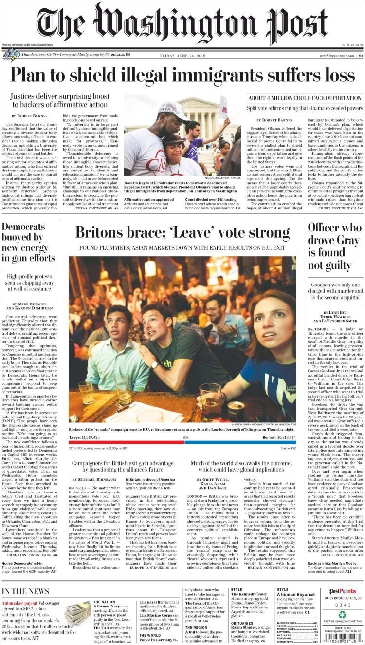 The front page of the Washington Post on Brexit.