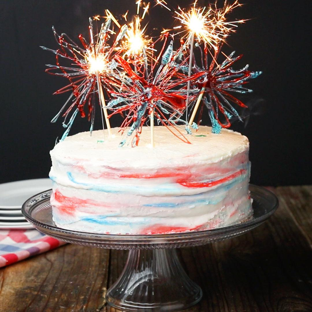 Marbled 4th Of July Box Cake Recipe By Tasty