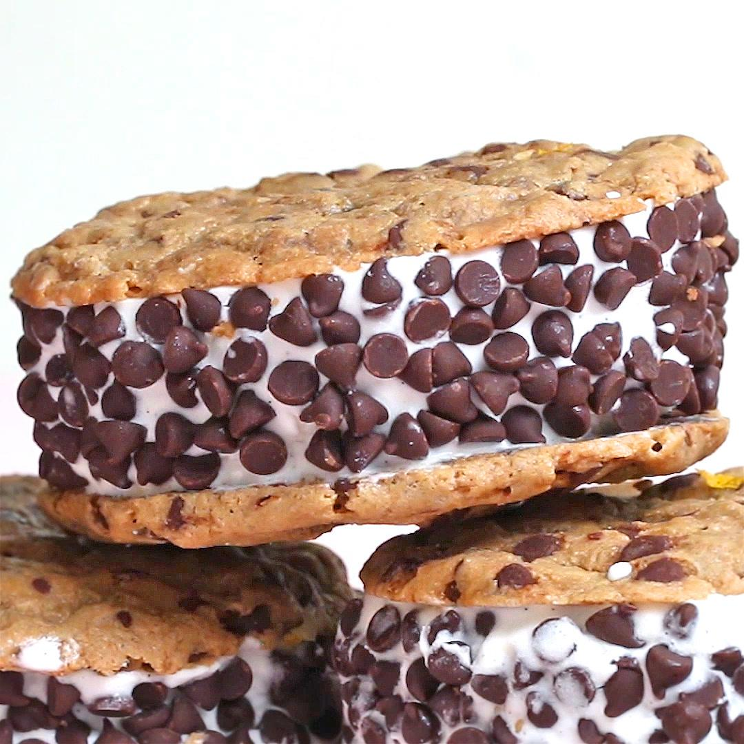Vegane Oreo Torte Vegan Chocolate Chip Cookie Ice Cream Sandwiches Recipe By Tasty