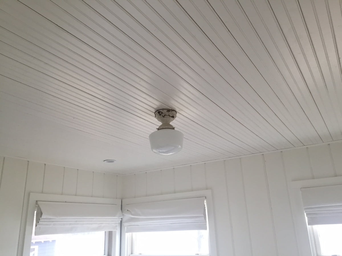Painted Wood Ceilings Beadboard Ceiling Install