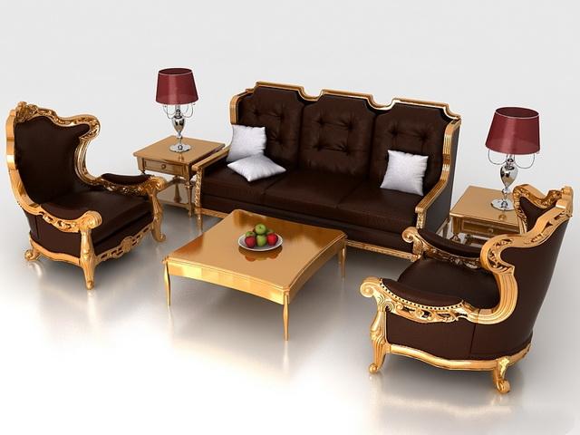 Classic living room furniture sets 3d model 3dsmax,3DS,Wavefront - free living room furniture