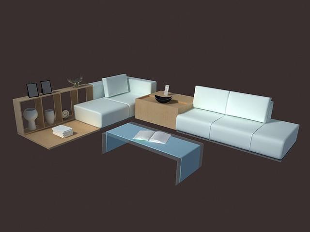 Modern living room set furniture 3d model 3dsmax files free - modern living room set