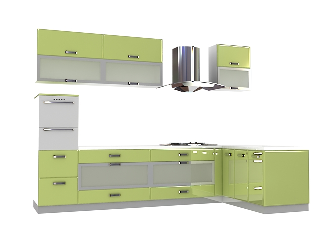 Olive Green Kitchen Cabinets 3D Model 3Dsmax Files Free Download