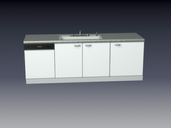 Modern U Shaped Kitchen With Island Kitchen Cabinet And Sink Combo 3d Model 3d Studio,3ds Max
