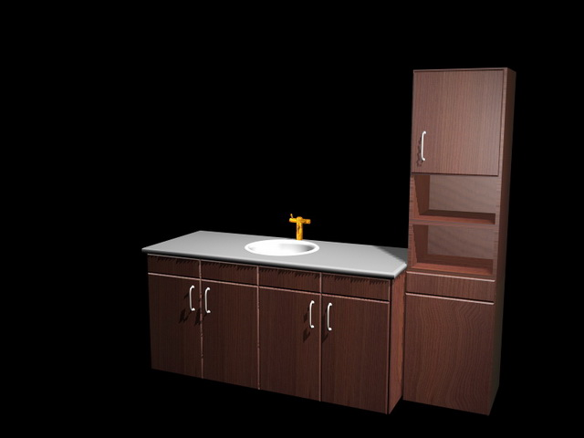 Small U Shaped Kitchen With Island Kitchen Cabinet And Sink Combination 3d Model 3d Studio