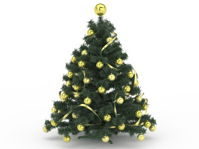 Gold Ornaments Christmas tree 3d model 3ds max files free download