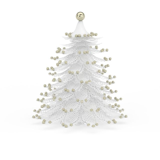 White Christmas tree 3d model 3ds max files free download - modeling