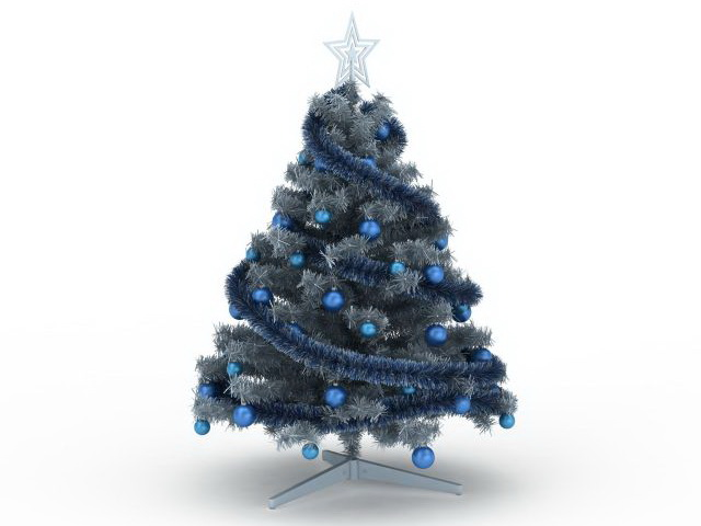 Blue Christmas tree 3d model 3ds max files free download - modeling
