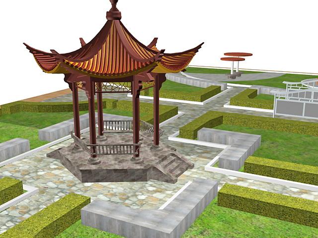 Formal Chinese garden design 3d model 3ds max files free download - chinese garden design