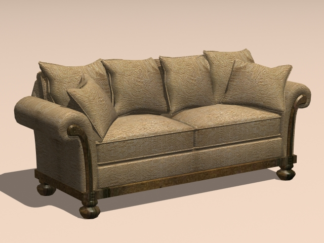 Curved Sectional Sofa Vintage Loveseat Sofa 3d Model 3ds Max,autocad Files Free