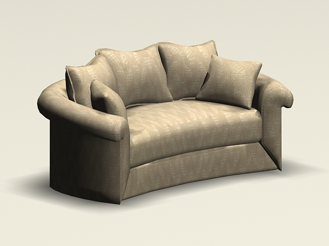 Sofa 3d Modeling Curved Loveseat 3d Model 3ds Max,autocad Files Free Download - Modeling 34486 On Cadnav