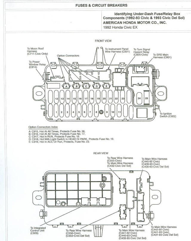 92 Honda Accord Fuse Box Wiring Diagrams