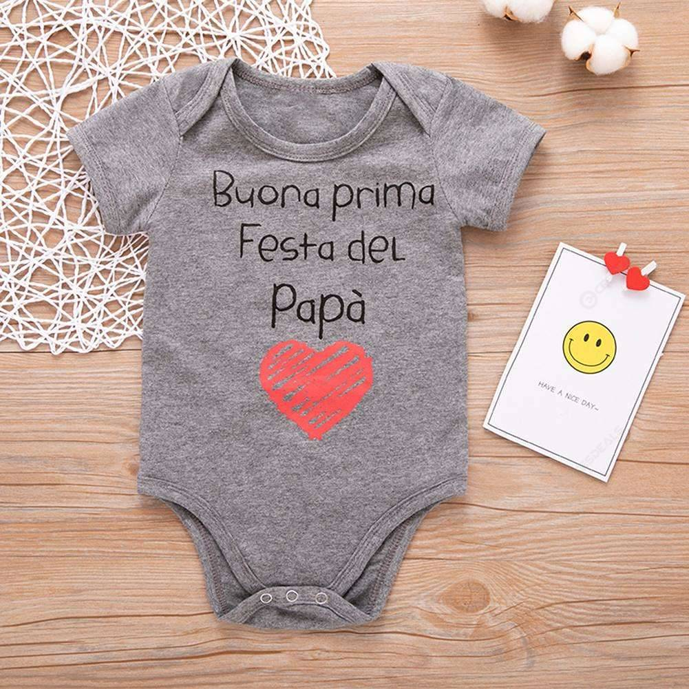 Newborn Babies Online Shopping Newborn Baby Short Sleeve Romper Letters Print Cotton Jumpsuit Grey 9 12m