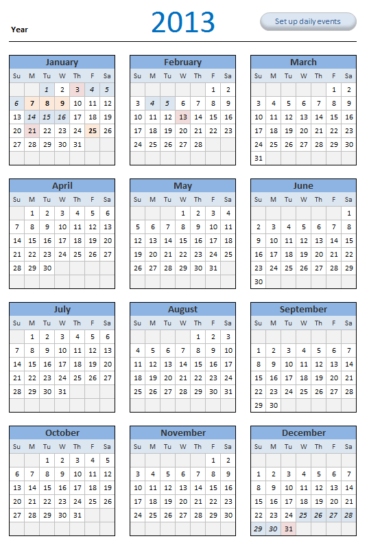 Yearly Calendars 2012 2013 2014 2015 The Fed Meeting Calendars And Information Free 2013 Calendar Download And Print Year 2013 Calendar