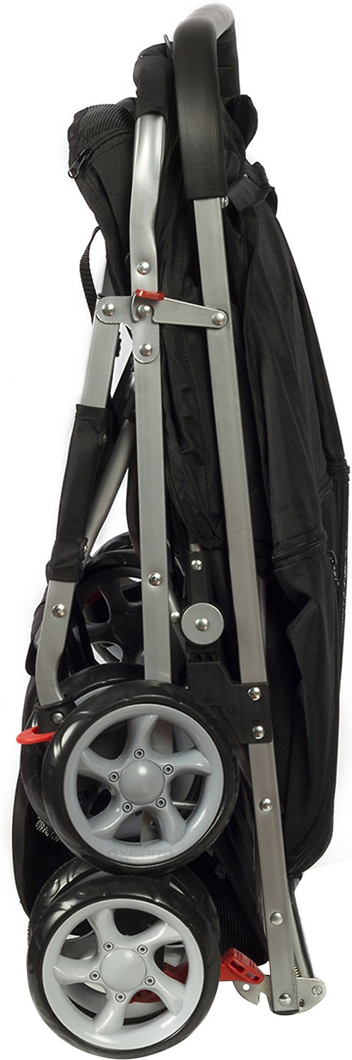 Dog Strollers Chewy.com Paws Pals Twin Double Folding Dog Cat Stroller Black