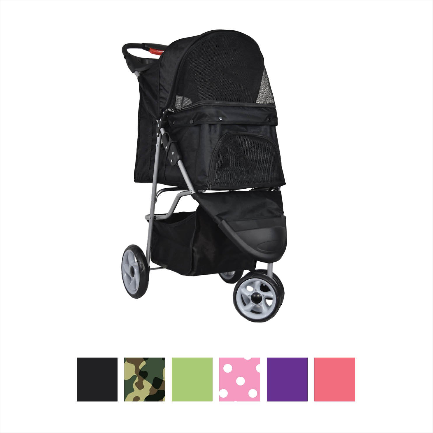 Triple Pet Stroller Puppy Dog Stroller For Cat And Dog Dogs Deluxe 3 Wheel Pet
